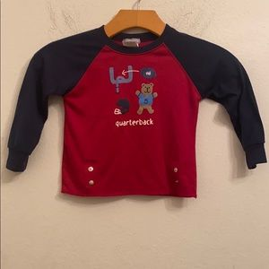Carters boys quarterback red long sleeve top